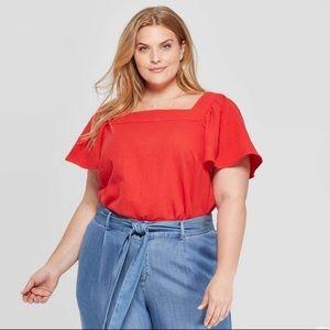 Ava Viv red square neck blouse 4X